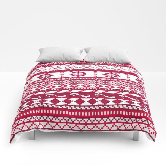 Red Fair Isle Christmas Pattern Comforters
