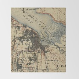 Vintage Map of Tacoma Washington (1895) Throw Blanket