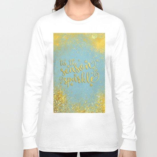 The season sparkle - Gold glitter effect Saying on aqua background on #Society6 Long Sleeve T-shirt