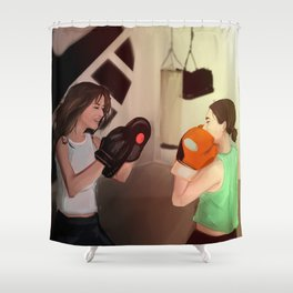 Skimmons trainging together. Shower Curtain