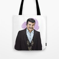 neil gaiman Tote Bags featuring Neil by Myrtle Quillamor