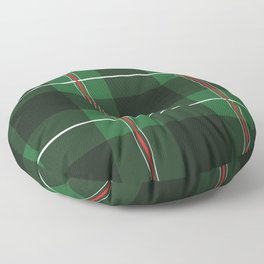 Green, Black and Red Striped Plaid Floor Pillow