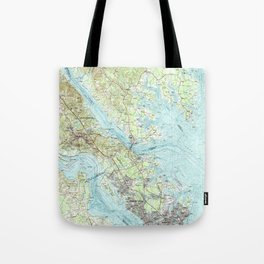 Tidewater Virginia Map (1984) Tote Bag