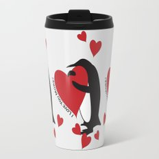Penguin and Red Hearts - I Love You More! Travel Mug