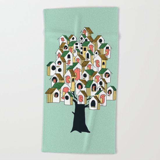 Bird houses Beach Towel