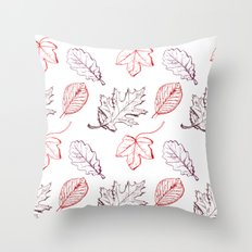 Leaves (reds) Throw Pillow