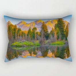 Grand Teton Sunrise Mountain Reflection Print Rectangular Pillow