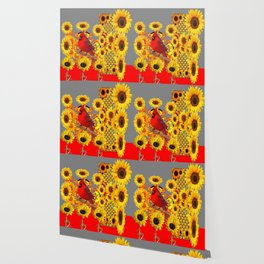 MODERN ABSTRACT RED CARDINAL YELLOW SUNFLOWERS GREY ART Wallpaper
