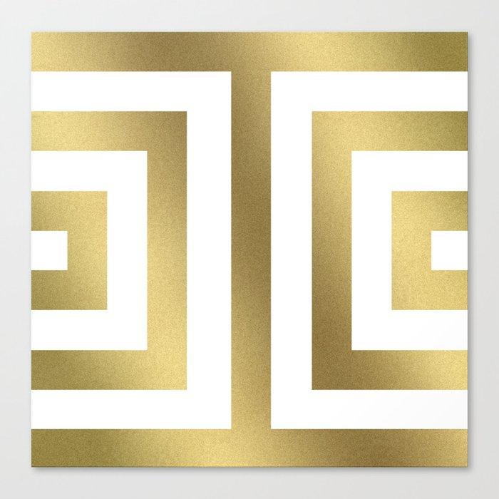 Gold Greek Stripes Leinwanddruck