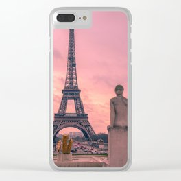 Pink View of Eiffel Tower Paris France Clear iPhone Case