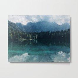 Cabin by Moutain lake Alaska Metal Print
