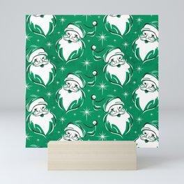 'Tis The Season Retro Santa Green White Pattern Mini Art Print