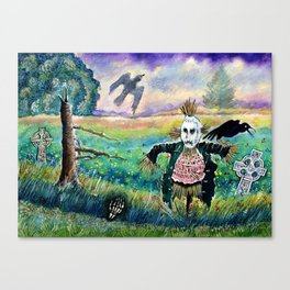 Halloween Field with Funny Scarecrow Skeleton Hand and Crows Canvas Print