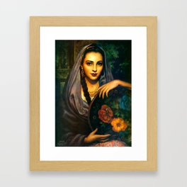 Jesus Helguera Painting of a Calendar Girl with Dark Shawl Framed Art Print
