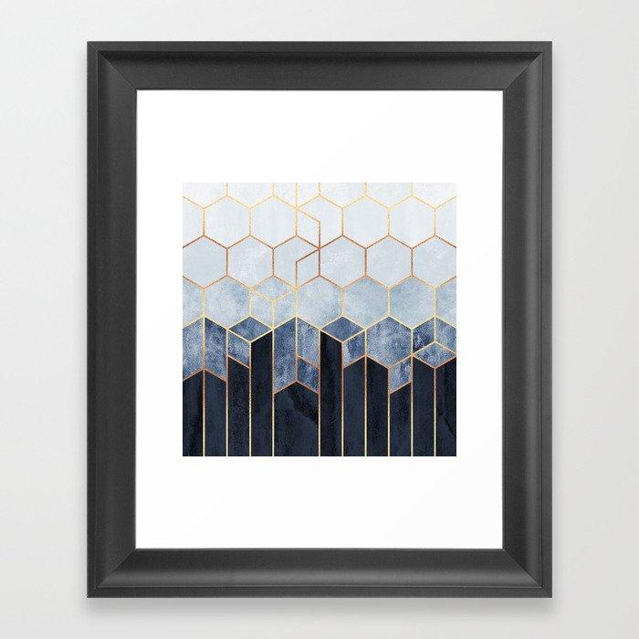 Soft Blue Hexagons Gerahmter Kunstdruck