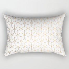 Gold Geometric Pattern on White Background Rectangular Pillow