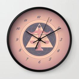 Zodiac Sign Libra Rose Pink and Purple Wall Clock