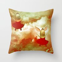 pigs Throw Pillows featuring Flying pigs by Annabellerockz