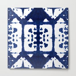Indigo Shibori Windows Metal Print
