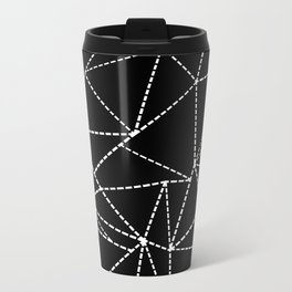 Abstract Dotted Lines White on Black Metal Travel Mug