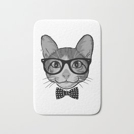 Cat Hipster With Polka Dots Bow Tie - Black White Bath Mat