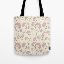 Fanned Flowers with Butterflies, grape Tote Bag