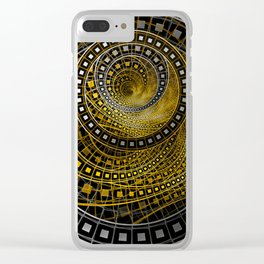 Golden Film Strips in Noir Nested Fractal Circles Clear iPhone Case