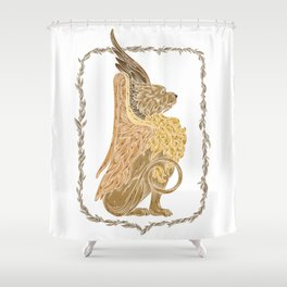 Mythical griffon in a floral wreath Shower Curtain