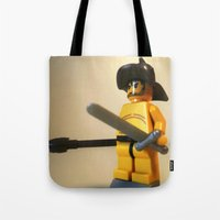gladiator Tote Bags featuring SPARTACUS THE GLADIATOR CUSTOM LEGO MINIFIG by Chillee Wilson by Chillee Wilson [Customize My Minifig]