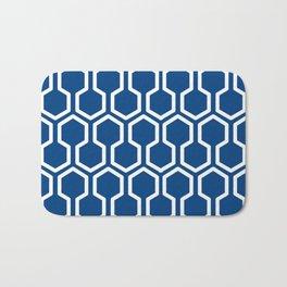 geometric blue and white Bath Mat