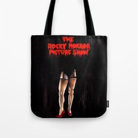 rocky horror Tote Bags featuring RHPS by Zombie Rust