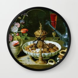 Clara Peeters Still Life with Flowers Goblet Dried Fruit & Pretzels Wall Clock