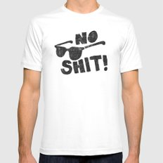 No Shit Shades White MEDIUM Mens Fitted Tee