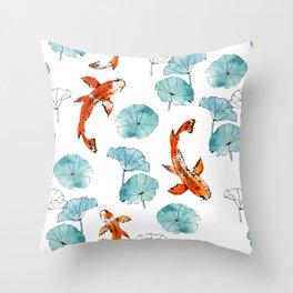 Waterlily koi Throw Pillow