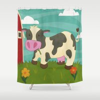 cow Shower Curtains featuring Cow by Claire Lordon