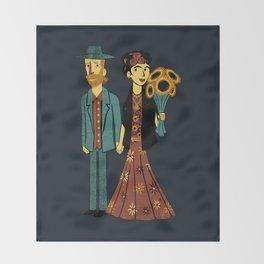 Love is Art Frida Kahlo and Van Gogh Throw Blanket