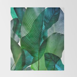 Palm leaf jungle Bali banana palm frond greens Throw Blanket