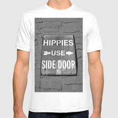 Hippies Use Side Door White MEDIUM Mens Fitted Tee