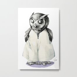 Miss Owl in Jumpsuit Metal Print