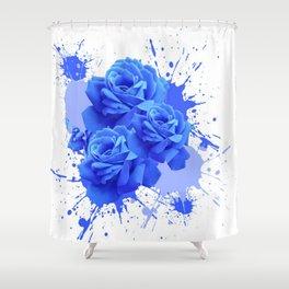 MODERN ART  BLUE ROSE PATTERN WATERCOLOR SPLATTER Shower Curtain