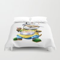 cooking Duvet Covers featuring A sea otter cooking by FACTORIE