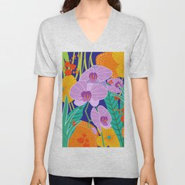 Orchid Fantasy Illustration, Tropical Colourful Orchids Unisex V-Neck
