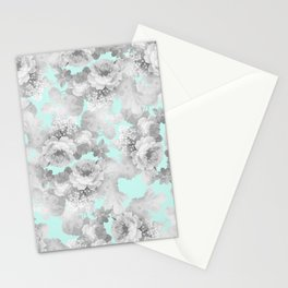 Vintage black white teal stylish chic roses floral Stationery Cards