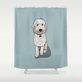 Labradoodle Illustration Blue Background Shower Curtain