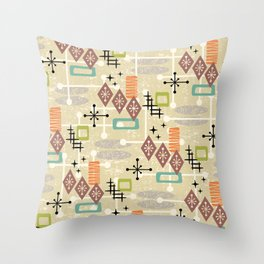 Retro Mid Century Modern Atomic Abstract Pattern 241 Throw Pillow