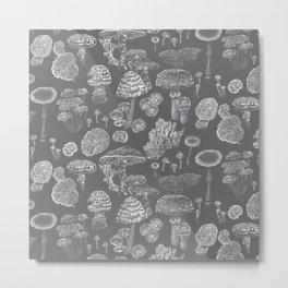 Mycology Grey Metal Print