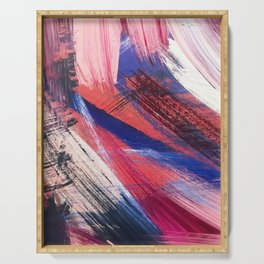Los Angeles: A vibrant, abstract piece in reds and blues by Alyssa Hamilton Art Serving Tray