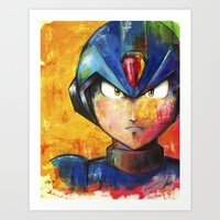 megaman Art Prints featuring Megaman by Jhaiku