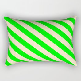 Bisque & Lime Colored Stripes/Lines Pattern Rectangular Pillow