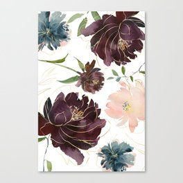 Chic Watercolor Flowers Canvas Print